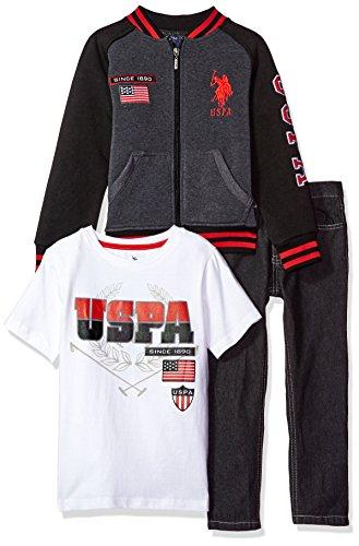 U.S. Polo Assn. Little Boys' Toddler 3 Piece Fleece Jacket, T-Shirt and Denim Pant Set, Engine Red, 4T