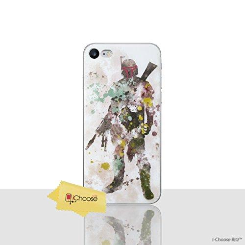 iPhone 7 Star Wars Arte de Fan Estuche de Silicona / Cubierta de Gel para Apple iPhone 7 (4.7) / Protector de Pantalla y Paño / iCHOOSE / Obi Wan Kenobi Boba Fett