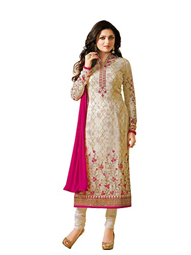(Laxminarayan Cream Georgette Embroidered Churidar Straight Salwar Suit with Nazmeen Chiffon Dupatta)