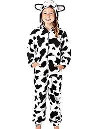 Boys or Girls Soft 160GSM Micro Fleece Face and Ears Hooded Onsie Pyjammas