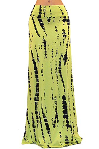 Hip Tie Dye Skirt - Vivicastle Women's Colorful Tie Dye Acid Washed High Waist Foldover Maxi Skirt (Large, G39)