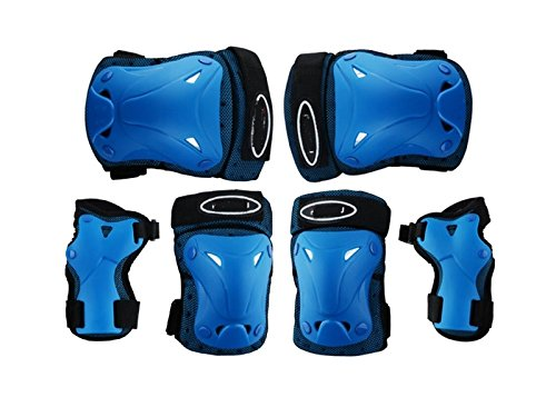 Wetietir Skating 6 Pcs/Set Kid's Protective Gear Set Elbow Knee Handguard Roller Skating Skateboard BMX Scooter Cycling (Blue S) Protection by Wetietir