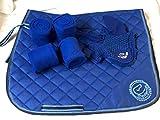Equipride Saddle Pad Set with Matching Fly Veil & Bandages Royal Blue (Full/Cob)