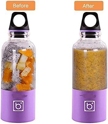 SEESEE.U - Mini exprimidor de frutas portátil con USB, licuadora personal de verduras y frutas, portátil, recargable, color morado