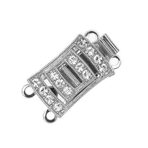 Jewelry Making Supplies - Rhodium Plated 2-Strand Box Clasp Rectangle with 14 Swarovski Elements 18x10mm - Perfect and Stunning Beads