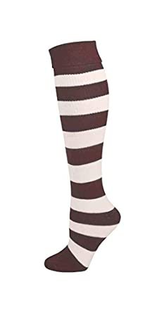 fa9bc00f5 Candy Apple Costumes Adult Brown White Striped Socks (Medium (Women) 2-