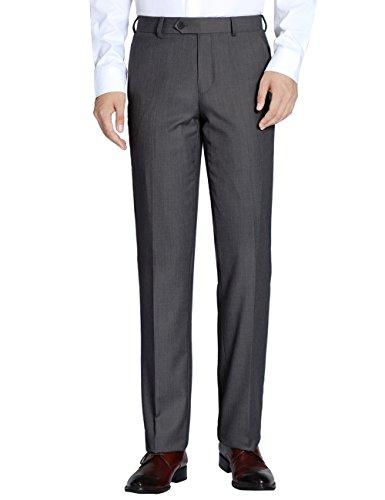 CHAMA Men's Classic Fit Non Iron Flat Front Dress Pant- Unhemmed (Dark Grey, 38R)