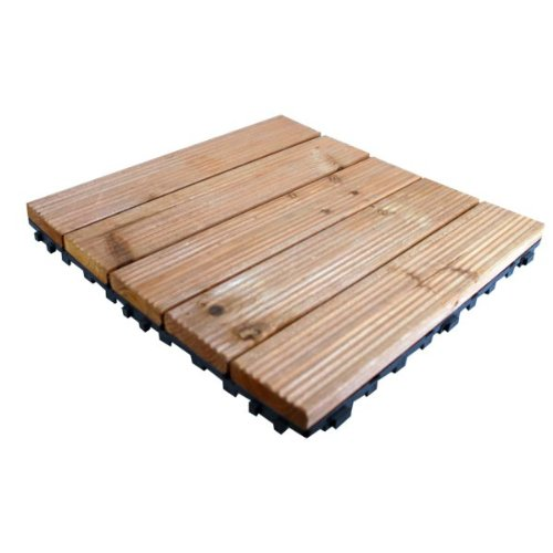 Kingfisher FT100 Wooden Decking Tiles - Natural Wood (Pack of 9)