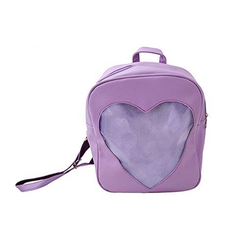 ODN Women Backpack PU Leather Sweet Heart Shape Transparent Girls School Bag Purple