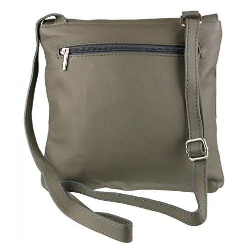 Pelle Body Italian Genuine Double Pocket Grey Bag or Shoulder Handbag Cross Dark Vera Bag Leather Leather qvXtrRnX