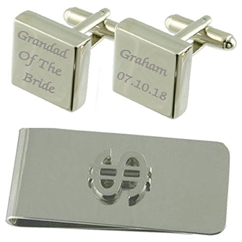 Clip Grandfather Bride Square Cufflinks Set Engraved Dollar of Gift Money 06Hq0C