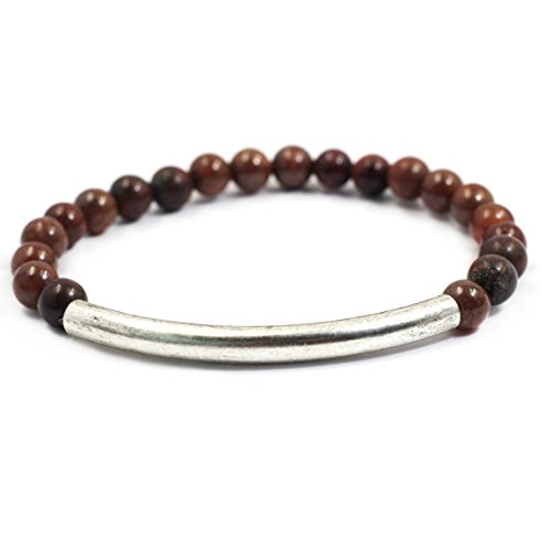 14k Brown Bracelet Charm (tom+alice Fashion New Style Women's 6mm Natural Stone Beaded Bracelets with Circle Tube 14K Gold Silver Plated Brown-Silver)