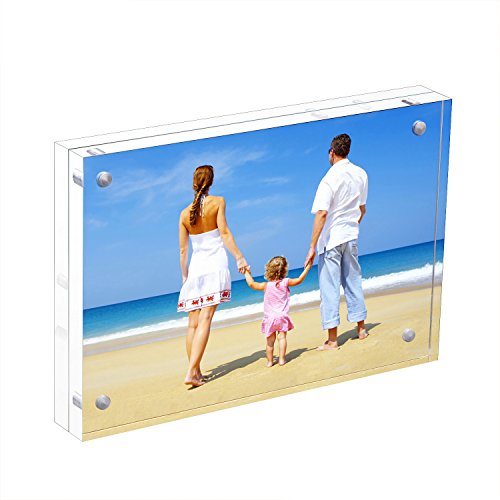 NIUBEE Acrylic Photo Frame 3.5x5 Gift Box Package, Wallet Size Double Sided Magnetic Acrylic Block Picture Frames, Frameless Desktop Postcard Display