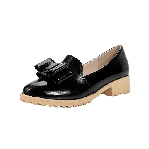 Latasa Womens Cute Bow Low Chunky Heel Slip on Comfort Loafers Shoes Black tHcXr