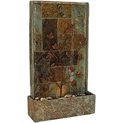 Sunnydaze Floor Water Fountain with Climbing Vines and Halogen Light, Natural Slate, 32-Inch - UNIQUE FOCAL POINT: 19 inches wide x 6.5 inches deep x 32.75 inches tall; Weighs 61.2 pounds; Halogen light dimensions: 2.25 inches diameter x 2.5 inches tall; Power cord from transformer to outlet is 73.5 inches long; Cord connecting pump to transformer is 77 inches long; Cord for light is 17.5 inches long; Metal vine dimensions: 21.75 inches tall x 13.5 inches wide; Recommended water capacity of 1.5 gallons HIGH-QUALITY CONSTRUCTION: Natural slate material with resin coating; Features a mesh splash guard at the bottom INCLUDES FOUNTAIN, SPOTLIGHT AND PUMP: Electric submersible recirculating AC 12V 60Hz 12W pump plugs into standard outdoor electrical outlet for placement on the patio, deck, or garden; Halogen spotlight plugs into the pump; Please note, pump should not be run without water - patio, fountains, outdoor-decor - 41heDEaj46L. SS400  -