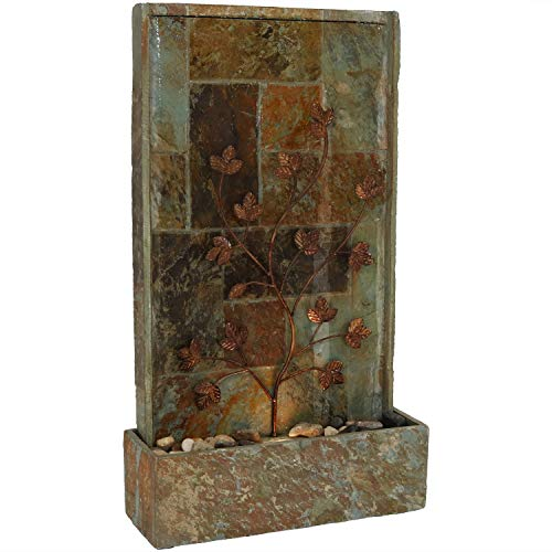Sunnydaze Floor Water Fountain with Climbing Vines and Halogen Light, Natural Slate, - Water Slate Floor Fountain