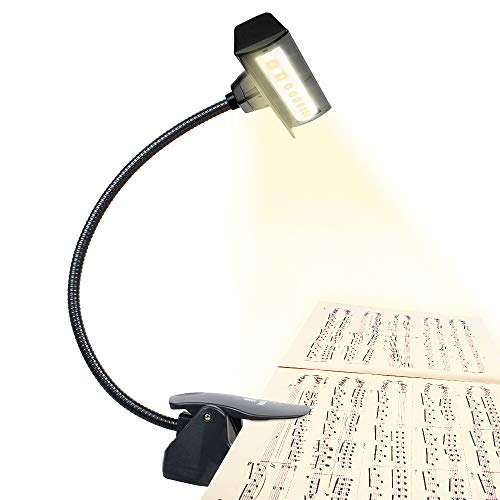 Professional 3000K-6000K Super Bright 19 LED Music Stand Light, Clip On Orchestra Piano Lights, 9 Levels Dimmable, Rechargeable. Perfect for Piano, Orchestra, DJ & Craft. USB Cable Incl.