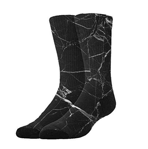 KYWYN Novelty Fashion Black Marble Texture 3D Printed Athletic Socks Extra Long Socks Knee High Socks for Men Women Boys Girls Outdoor Activities -