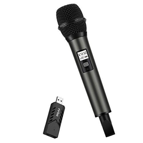 Fifine UHF Dynamic Vocal Microphone, Selectable Frequencies Wireless Microphone with USB Receiver for PC Computer and Laptop (K034)