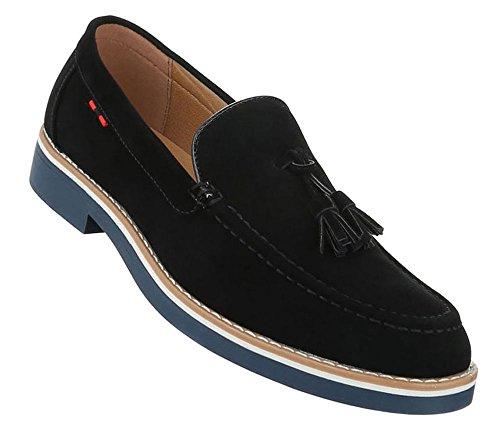 Herren Schuhe Halbschuhe Slipper Schwarz