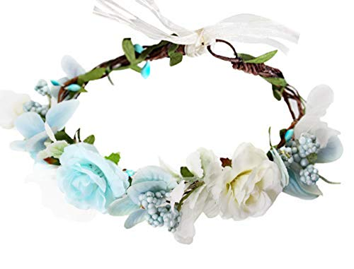Vivivalue Boho Flower Crown Adjustable Flower Headband Hair Wreath Floral Headpiece Halo with Ribbon Wedding Party Festival Photos Blue