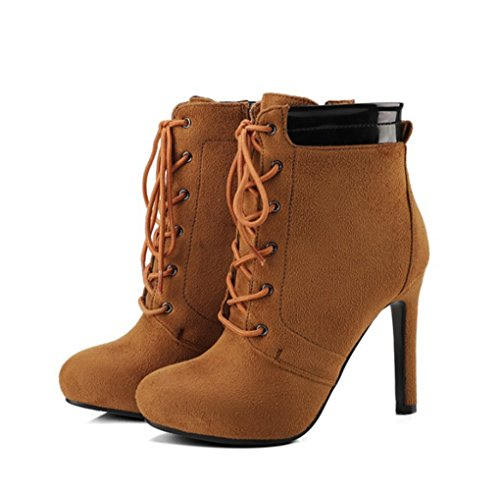 XZ Female Boots Fashion Autumn High-Heeled Low Boots Brown bE4VhtEVbi