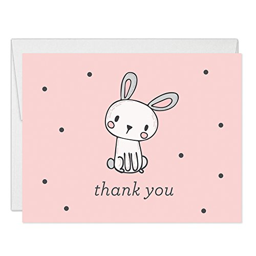 Pink Girls Bunny Rabbit Thank You Cards Blank Folded with Envelopes (Pack of 50) Baby Shower Thanks 1st Birthday Child Children Kids B'day Thank You Notes Excellent Value VT0010