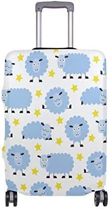 (ソレソレ)スーツケースカバー 防水 伸縮素材 キャリーカバー ラゲッジカバー 綿羊 星柄 ホワイト 白 可愛い かわいい 可愛い おしゃれ 防塵 旅行 出張 便利 S M L XLサイズ