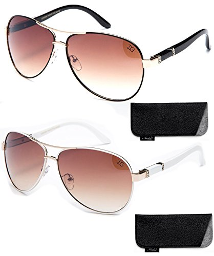 New 2017 Model Aviator Style Modern Design Fashion Sunglasses for Men and Women (2 Pack - Black & White-w/Pouch, Brown)