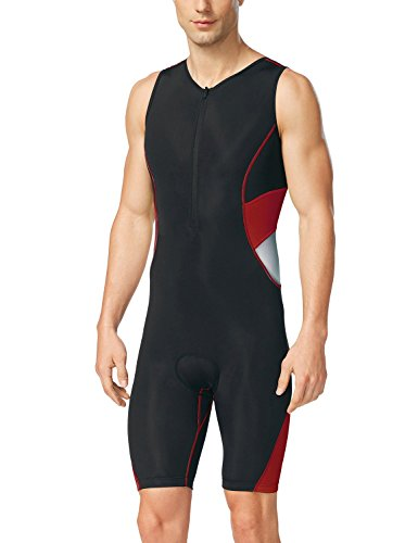 (Baleaf Men's Triathlon Tri Race Suit UPF 50+ Black Red Size L)