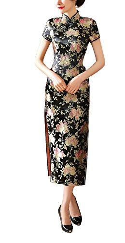 ACVIP Women's Brocade Chinese Wedding Side-split Long Dress 8 Colors (6, black-2) (Chinese Brocade Dress Silk)