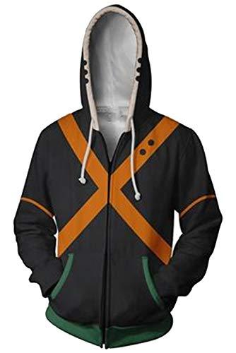 NoveltyBoy Boku No Hero Academia My Hero Academia Bakugou Katsuki Hoodies Sweatshirt Cosplay Costume Battle Suit Jacket (X-Large)