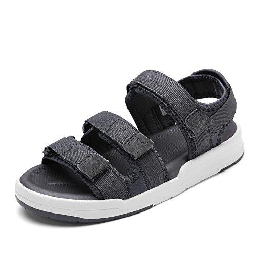Xing Lin Sandalias De Mujer Deportes De Verano Sandalias Planas Zapatos Playa Estudiantes Planas Con Velcro Calzado Casual 1198 gray