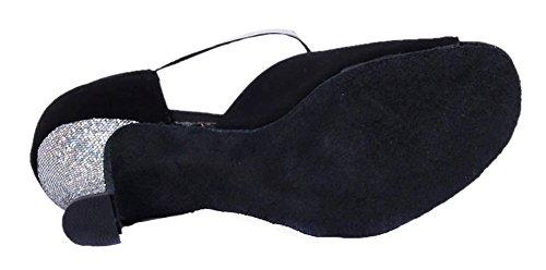 Honeystore Women's Heel Shoes Glitter Latin T Dance Strap Silver 7rdwqF4r