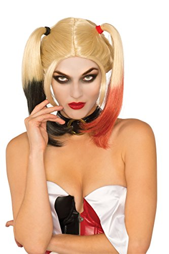 Halloween Wigs Dc (Secret Wishes Women's DC Comics Harley Quinn Wig, Multi, One)