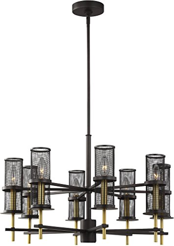 Palmyra Collection (Feiss F3230/8ORB/BBS Contemporary Modern Eight Light Chandelier from Palmyra Collection in Bronze/Dark Finish, 8)