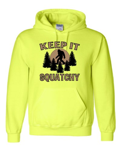 Large Safety Green Adult Keep It Squatchy Bigfoot Sasquatch Hooded Sweatshirt Hoodie