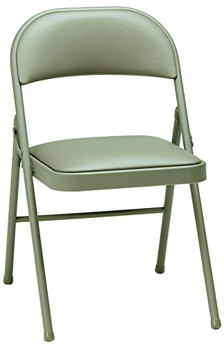MECO 4-Pack Deluxe Vinyl Padded Folding Chair, Chicory Lace and Chicory Vinyl Seat and Back