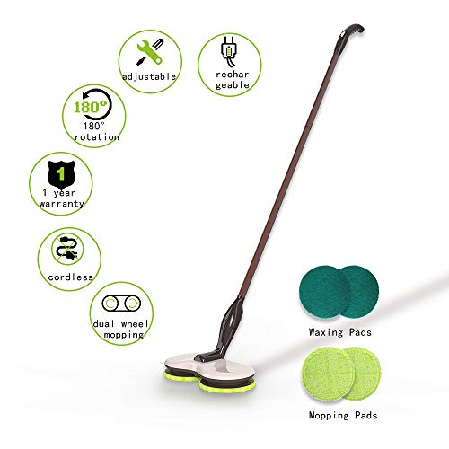 GOBOT Cordless Electric Mop with 3 Adjustable Handle, Quiet Floor Spin Scrubber, Handheld 180° +2 Extra Accessories, Powerful Cleaner, Polisher for Hard Wood, Tile, Vinyl, Marble and Laminate Floor