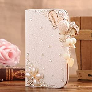 S-Coach Sony Z3 Compact Bling Diamond Folio Leather Case Cover With Card holster & Magnetic Horizontals Flip - I loving You Flower