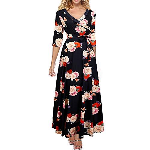 634510bc2916 Zshujun Women s Oversize Deep V-Neck 3 4 Sleeve Casual Maxi Dress with  Pockets