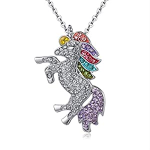 Mix Vogue Beautiful Rhinestone Unicorn Necklace Sweater Chain for Women, Unicorn Rainbow Necklace for Girls