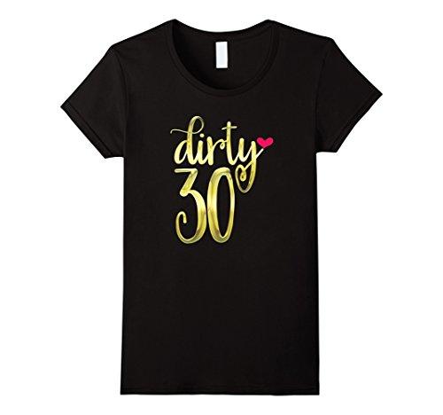 Womens Dirty Thirty Shirt 30th Birthday Gift Gold 30 Pink Heart Medium Black