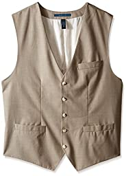 Perry Ellis Men\'s Big-Tall Big and Tall Solid Texture Suit Vest, Natural Linen, X-Large/Tall