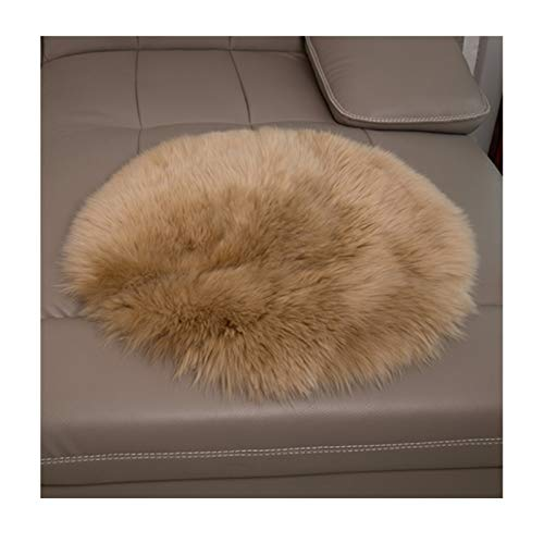 Elhouse Round Mat Home Decor Faux Fur Sheepskin Rugs Kids Carpet Nursery Bedroom Fluffy Rug Shaggy Area Rug, Diameter 2.5ft Khaki