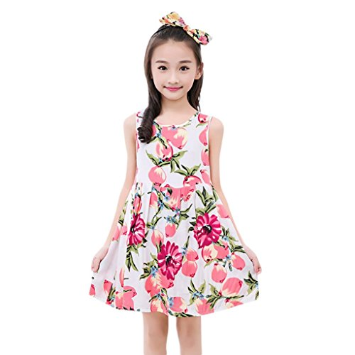 a394eeea0 Elevin(TM) Toddler Kid Baby Girl Tutu Skirt Sleeveless Flower Print Summer  Dresses 0-9T (8T, A Pink) - Buy Online in Oman. | Apparel Products in Oman  - See ...
