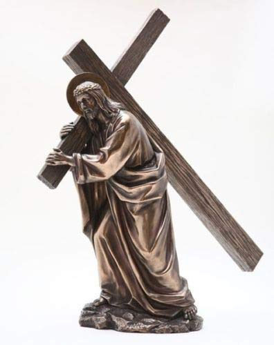 Figurine Jesus Carrying Cross to Calvary Hill Statue Burden of Sin On His Back ()