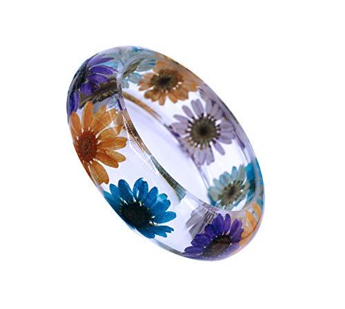 Bangle Daisy - IDesign Boho Flower Bracelet Bangle for Women Girls Sunflower Resin Bracelet Bangle Hawaiian Pressed Natural Daisy Flower Resin Jewelry (Mix Color)