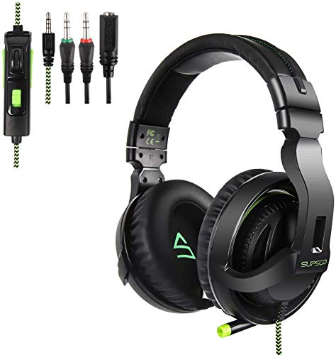 SUPSOO G822 Gaming Headset for New Xbox One, PS4 Controller,3.5mm Wired Over-Ear Noise Isolating Microphone Volume…