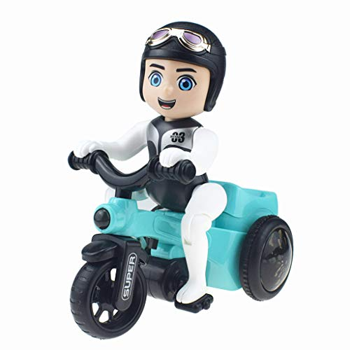 (Nivalkid In Situ Rotation Electric Three-wheeled Motorcycle Music Light Toy Children Gift Complete Motors Riding Electric Tricycle Kids Novelty Fun Children's Toys With Music Light (Colorful))